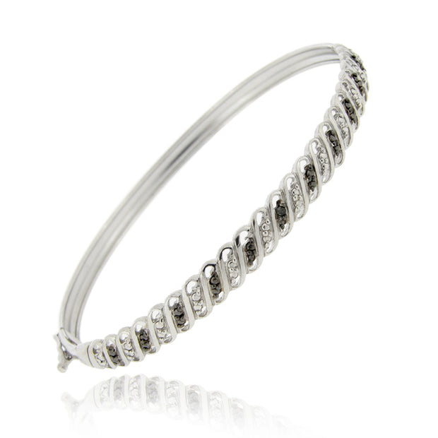 Sterling Silver Black Diamond Accent S Design Bangle Bracelet