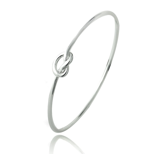 Sterling Silver Polished Love Knot Bangle Bracelet