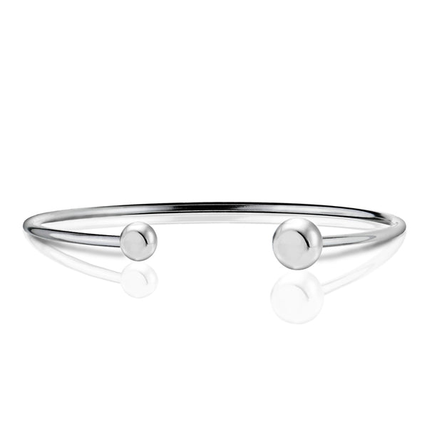 Sterling Silver Polished Bead Cuff Bangle Bracelet