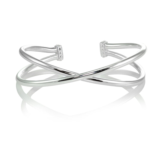 Sterling Silver High Polished Criss Cross Cuff Bangle Bracelet