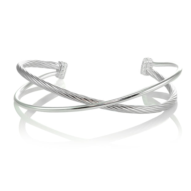 Sterling Silver High Polished & Twist Criss Cross Cuff Bangle Bracelet