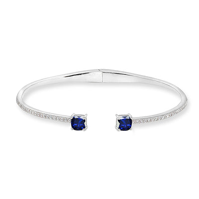 Sterling Silver Created Blue & White Sapphire Cushion-Cut Dainty Cuff Bangle Bracelet