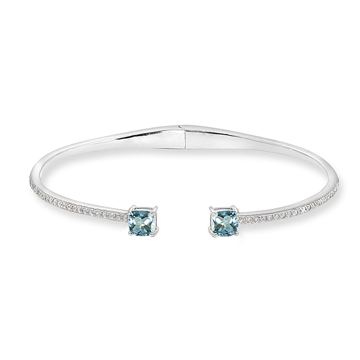 Sterling Silver Blue Topaz & Created White Sapphire Cushion-Cut Dainty Cuff Bangle Bracelet