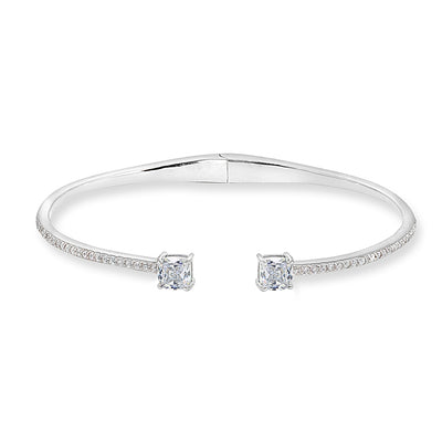 Sterling Silver Created White Sapphire Cushion-Cut Dainty Cuff Bangle Bracelet