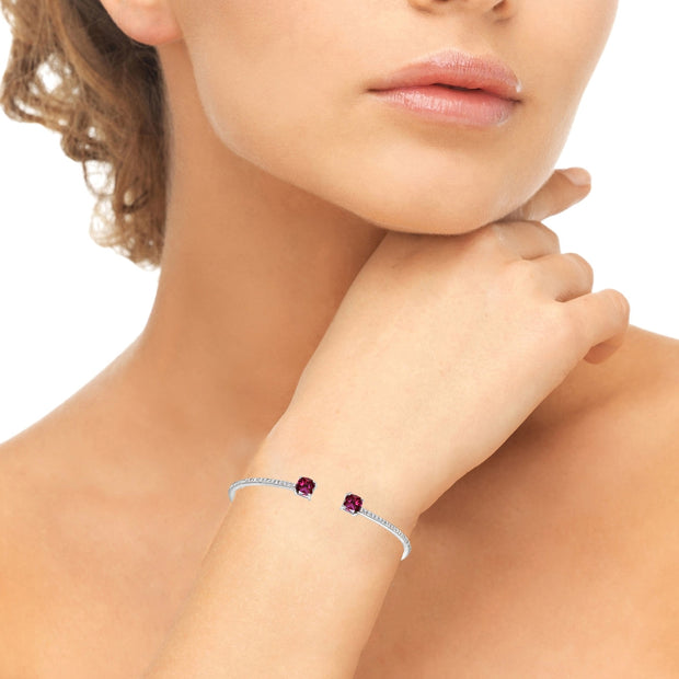 Sterling Silver Created Ruby & White Sapphire Cushion-Cut Dainty Cuff Bangle Bracelet