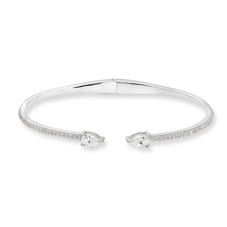Sterling Silver Cubic Zirconia Teardrop Dainty Fashion Cuff Bangle Bracelet