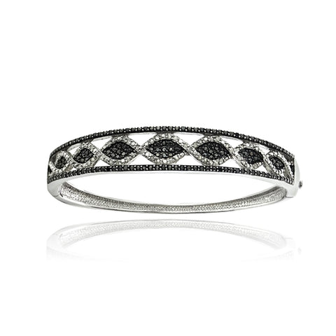 1 CT Black & White Diamond Bangle Bracelet