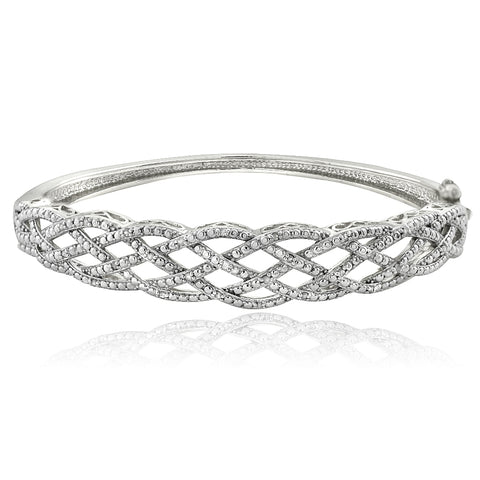 1/4 Ct Diamond Weave Bangle Bracelet