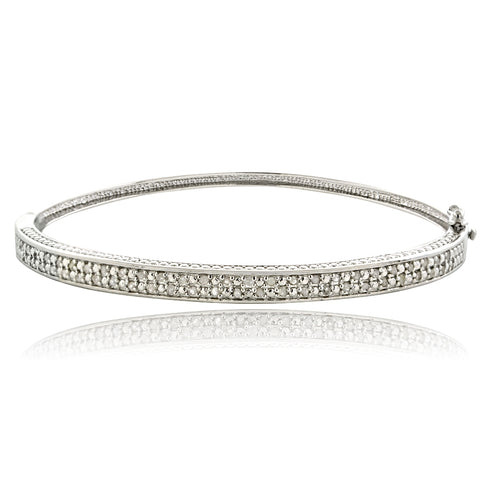 1/2ct Diamond Silver Tone Bangle Bracelet