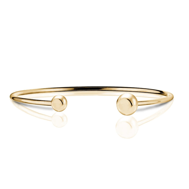 Gold Tone over Sterling Silver Polished Bead Cuff Bangle Bracelet