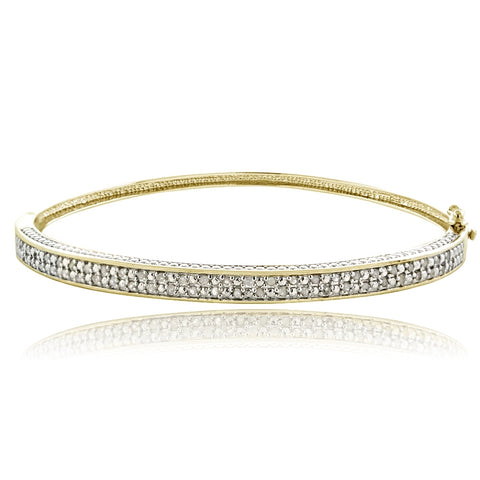 1/2ct Diamond Gold Tone Bangle Bracelet