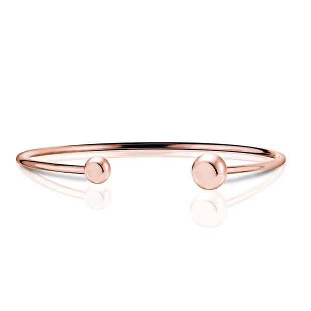 Rose Gold Tone over Sterling Silver Polished Bead Cuff Bangle Bracelet