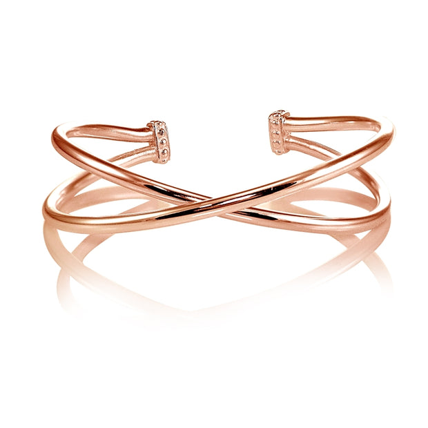 Rose Gold Flashed Sterling Silver High Polished Criss Cross Cuff Bangle Bracelet