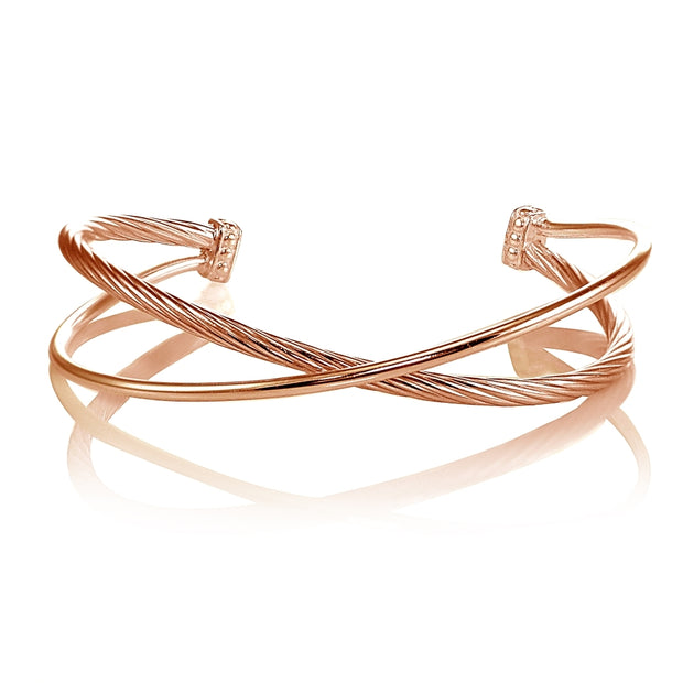 Rose Gold Flashed Sterling Silver Polished & Twist Criss Cross Cuff Bangle Bracelet