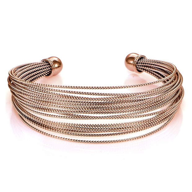 Rose Gold Flashed Stainless Steel Rope Cuff Bracelet
