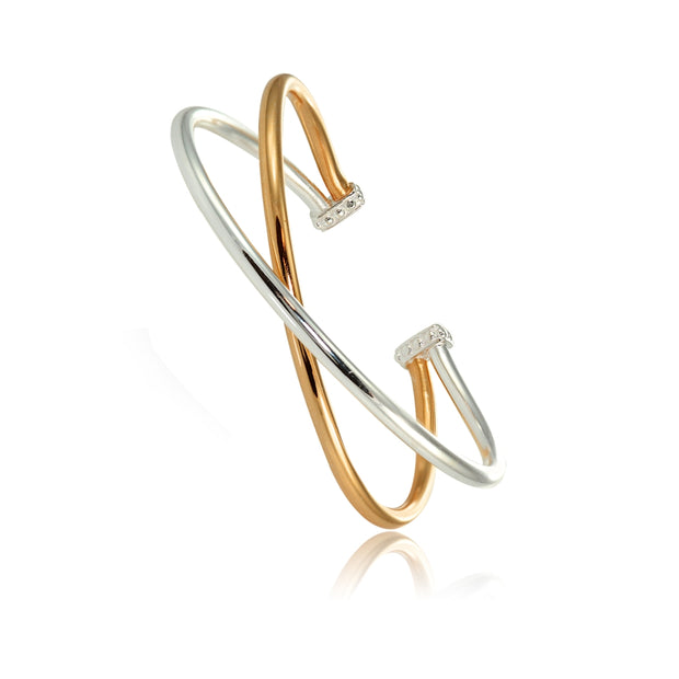 Rose Gold Flashed Sterling Silver High Polished Two Tone Criss Cross Cuff Bangle Bracelet
