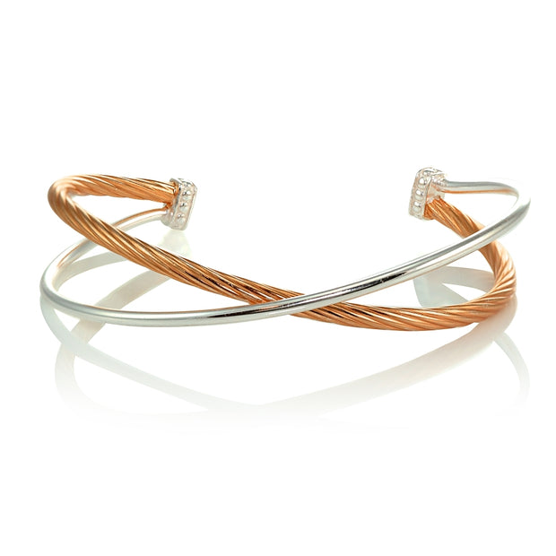 Rose Gold Flashed Sterling Silver Polished & Twist Two Tone Criss Cross Cuff Bangle Bracelet