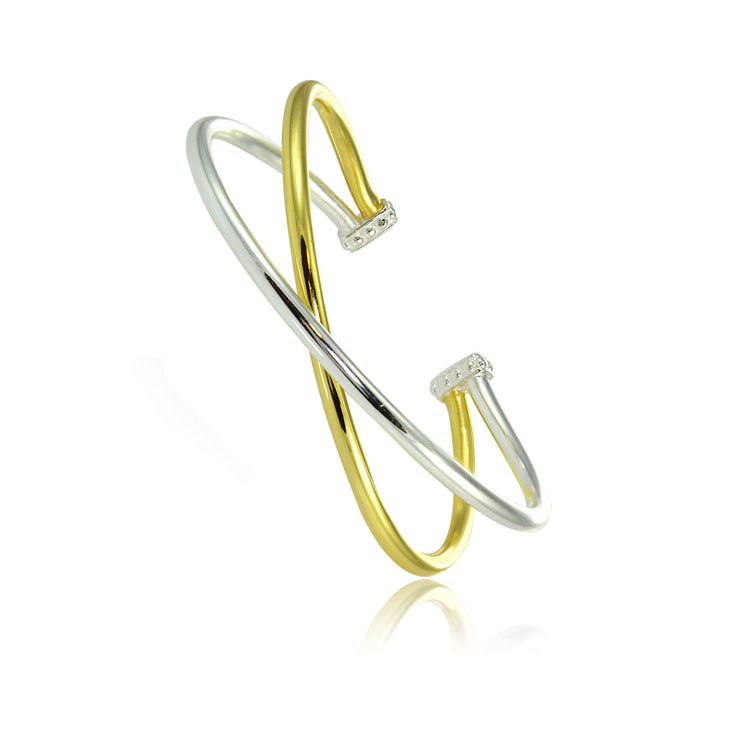 Yellow Gold Flashed Sterling Silver High Polished Two Tone Criss Cross Cuff Bangle Bracelet