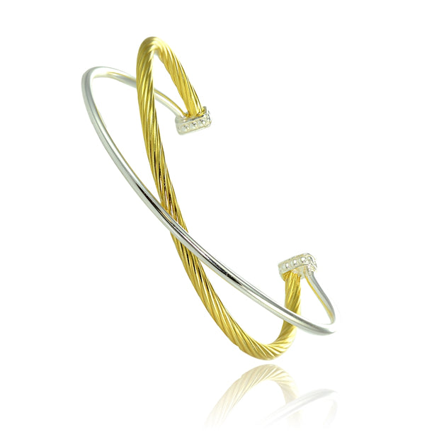 Yellow Gold Flashed Sterling Silver Polished & Twist Two Tone Criss Cross Cuff Bangle Bracelet