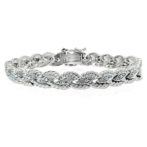 Genuine Diamond Accent Braided Tennis Bracelet in Silver Tone