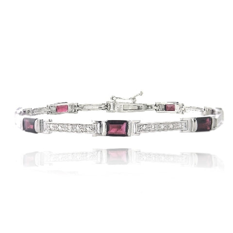 5ct Garnet &  Diamond Accent Emerald-Cut Link Bracelet