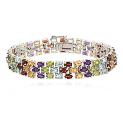 27ct Multi Gemstone Three-Row Tennis Bracelet