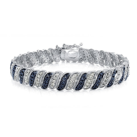 1.00ct TDW Blue & White Diamond Wave Link Tennis Bracelet