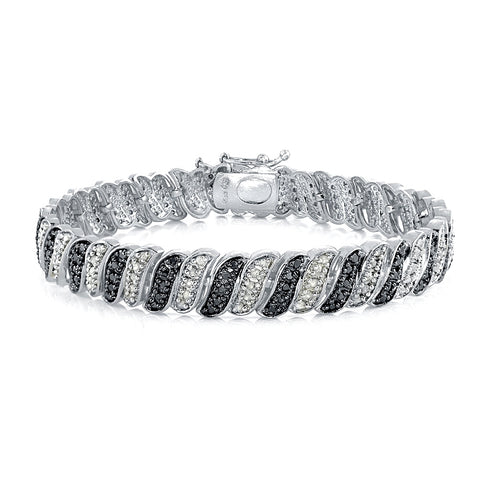 1.00ct TDW Black & White Diamond Wave Link Tennis Bracelet