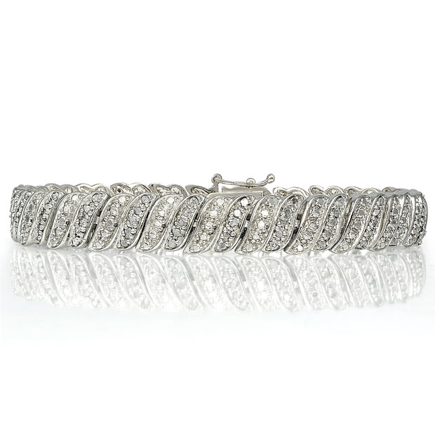 1 ct Diamond Wave Link Tennis Bracelet