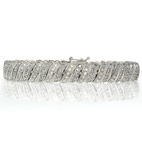 1.00ct Diamond Wave Link Tennis Bracelet