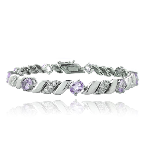 4ct Amethyst & Diamond Accent San Marco Bracelet