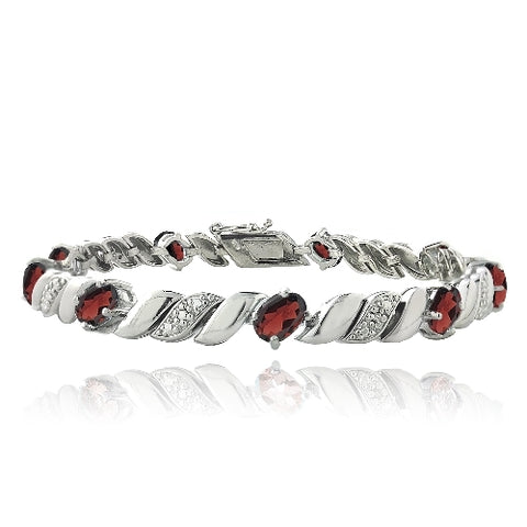 5ct Garnet & Diamond Accent San Marco Bracelet