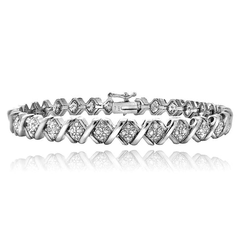 1.00ct TDW Diamond Silvertone X Tennis Bracelet