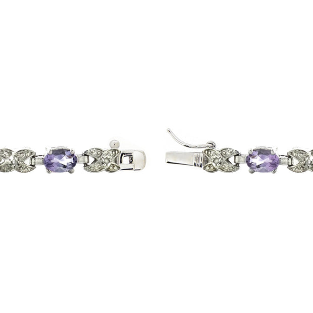 Silver Tone 5.6ct Amethyst & Diamond Accent X & Oval Bracelet