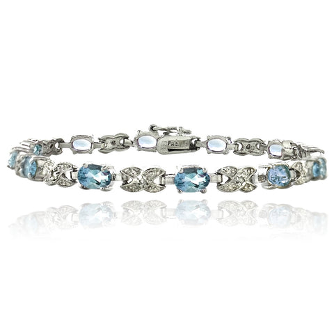 Silver Tone 7.15ct Blue Topaz & Diamond Accent X & Oval Bracelet