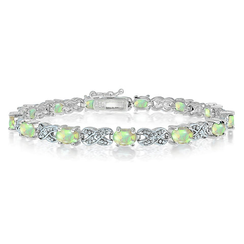 Silver Tone 3ct Created White Opal & Diamond Accent X & Oval Bracelet