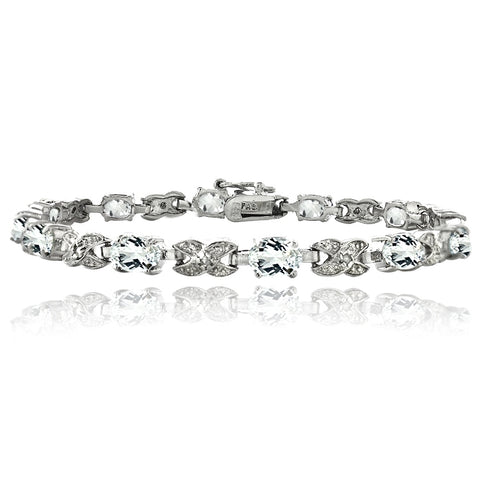 Silver Tone 7.15ct White Topaz & Diamond Accent X & Oval Bracelet