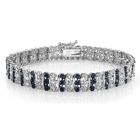 1.00ct TDW Blue & White Diamond S Pattern Tennis Bracelet