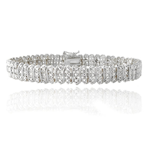 1.00ct TDW Diamond S Pattern Tennis Bracelet