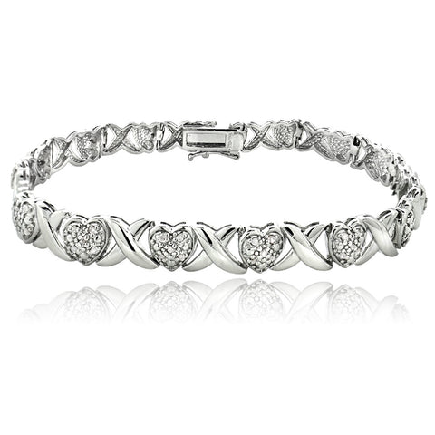 0.50ct Diamond X & Heart Tennis Bracelet