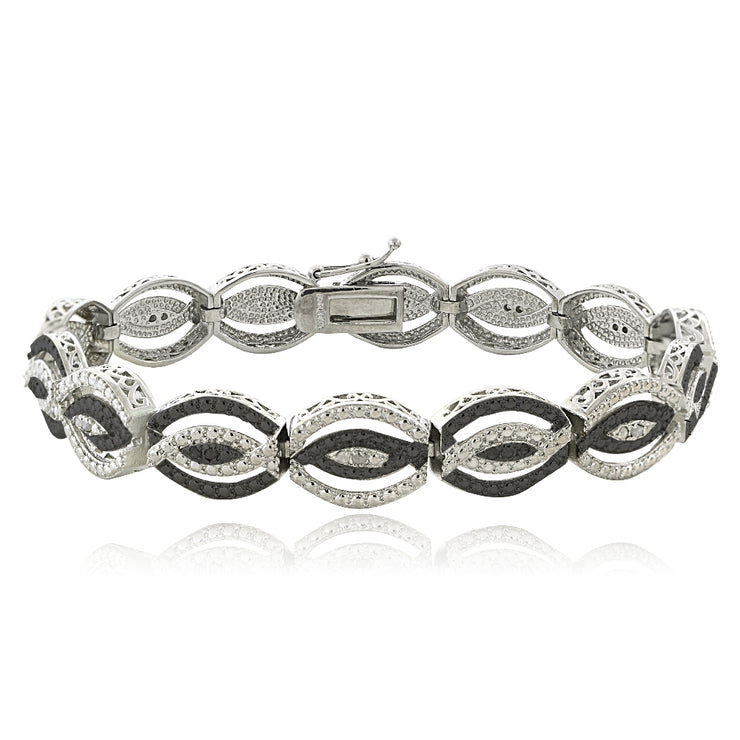 1/4 Carat Black & White Diamond Intertwining Infinity Bracelet