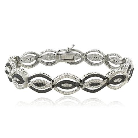 1/4 Ct Black & White Diamond Intertwining Infinity Bracelet