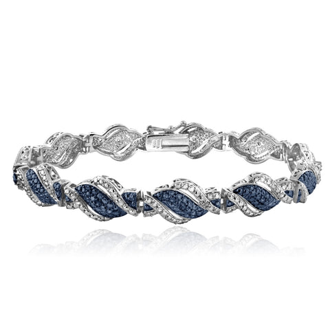1/4 Ct Blue & White Diamond Twist Bracelet