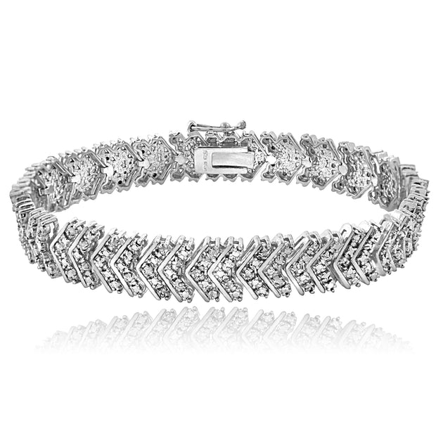 1 ct tdw Diamond Chevron Tennis Bracelet