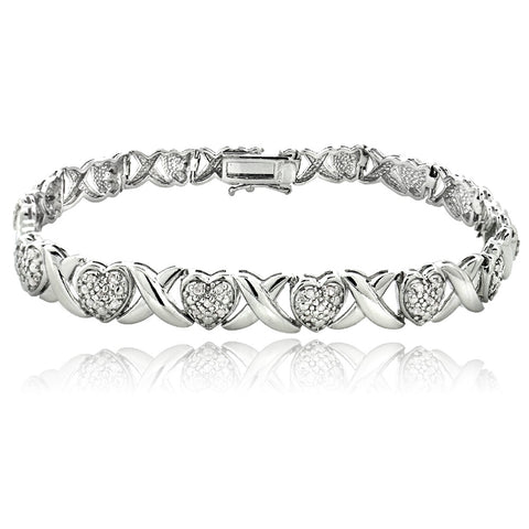 1.00ct Diamond X & Heart Tennis Bracelet