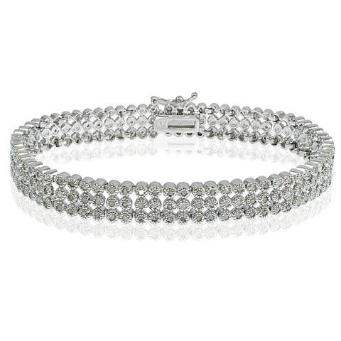 1.00ct Diamond Three Row Tennis Bracelet