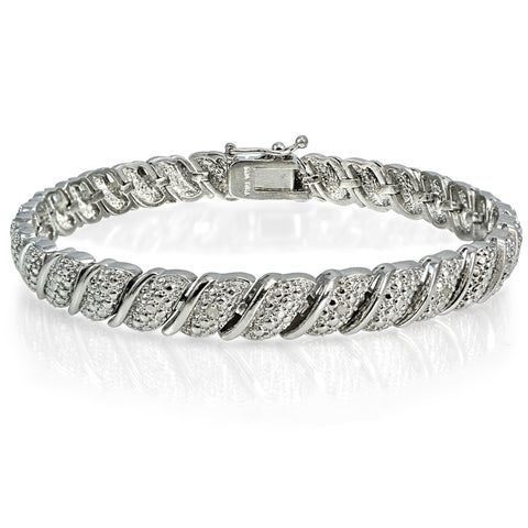0.10ct TDW Diamond Fancy Tennis Bracelet