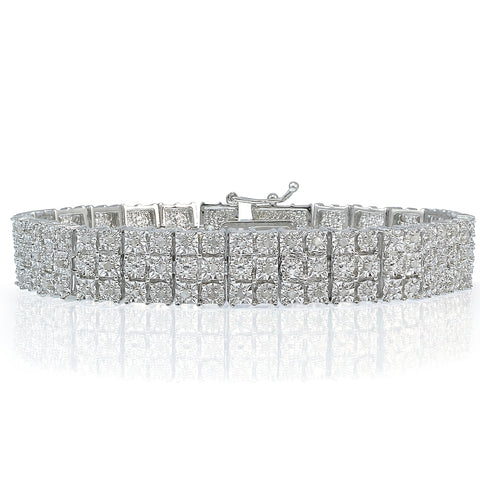 1.00ct Diamond Miracle Set 3-Row Tennis Bracelet