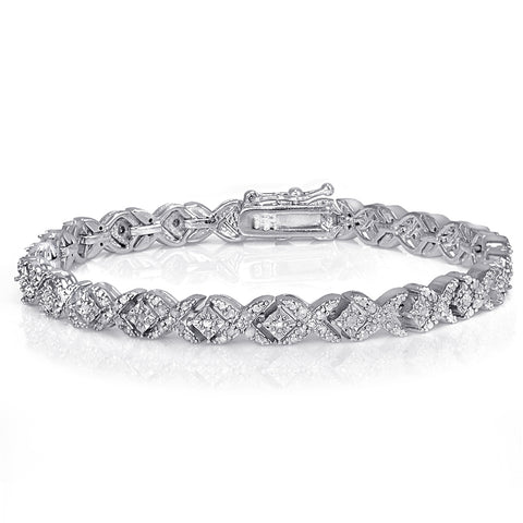 1.00ct TDW Diamond Miracle Set X Tennis Bracelet