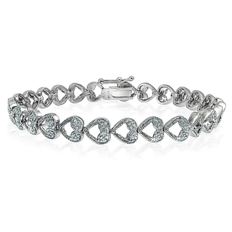 Genuine Diamond Accent Heart Link Tennis Bracelet in Silver Tone
